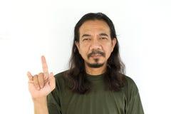 Alter asiatischer Mann mit dem langen Haar Lizenzfreies Stockfoto