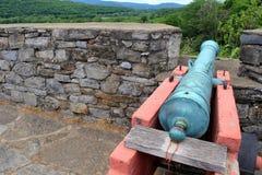 Alter authentischer Kanon bereit, durch Steinwand in Richtung zu den Feinden des Forts Ticonderoga, New York, 2016 abzufeuern Lizenzfreie Stockfotografie