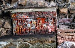 Alter Azteke Eagle Warriors Palace Templo Mayor Mexiko City Mexiko lizenzfreies stockbild