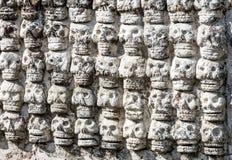 Alter aztekischer Schädel-Wand Templo Bürgermeister Mexiko City Mexiko stockbilder