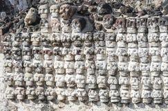 Alter aztekischer Schädel-Wand Templo Bürgermeister Mexiko City Mexiko lizenzfreies stockbild