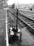 Alter Bahnsignal-Punkt Stockfotografie