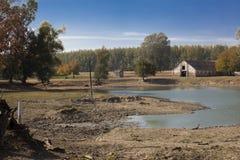 Alter Bauernhof des Büffels nahe dem See in Srbia stockbild