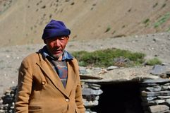 Alter beduinischer Mann von Ladakh (Indien) Lizenzfreie Stockbilder