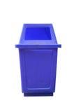 Alter blauer Plastikbehälter lokalisiert auf weißem Hintergrund Lizenzfreies Stockfoto