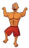 Alter Bodybuilder, der Muskel-Karikatur biegt Lizenzfreie Stockfotos