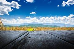 Alter Bretterboden neben dem landwirtschaftlichen Feld und Berg mit blauem Himmel Lizenzfreies Stockbild