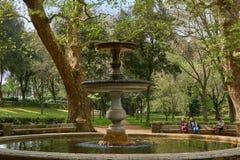 alter Brunnen im netten Park stockfoto