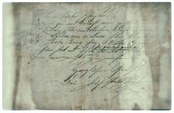 Alter Buchstabe mit handgeschriebenem Text Grunge Papierhintergrund Stockfoto