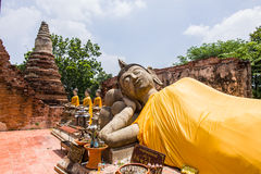 Alter Buddha in 500 Jahren in Ayutthaya Stockbilder