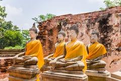 Alter Buddha in 500 Jahren in Ayutthaya Lizenzfreies Stockfoto