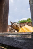 Alter Buddha in 500 Jahren in Ayutthaya Stockfotos