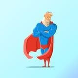 Alter charismatischer Hippie Superheld Superheld in der Tätigkeit Auch im corel abgehobenen Betrag Lizenzfreies Stockfoto