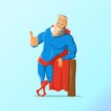 Alter charismatischer Hippie Superheld Superheld in der Tätigkeit Auch im corel abgehobenen Betrag lizenzfreie abbildung