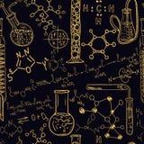Alter Chemielabornahtloser Mustersatz Weinlesevektorhintergrund-Handzeichnung Stockfotos