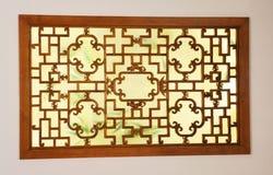 Alter Chinese geschnitzte Fenster Stockfoto