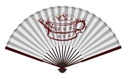 Alter chinesischer Fan mit Teekanne Stockbilder