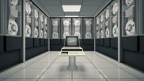 Alter Computer in einem lebhaften Raum lizenzfreie abbildung