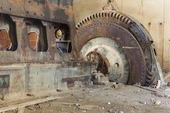 Alter Dieselmotor mit Rotor stockbild