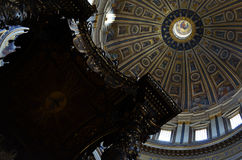 Alter and the dome inside St. Peter& x27;s Basilica Royalty Free Stock Images