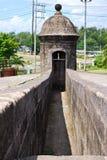 Alter Drehkopf auf einer Festungsmauer Lizenzfreies Stockbild