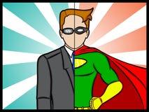 Alter Ego Super Hero. An illustration of a alter ego superhero secret identity Stock Photos