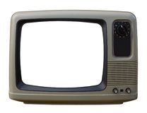 Alter Fernsehapparat über einem weißen Hintergrund Lizenzfreie Stockfotos