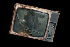 Alter Fernsehapparat mit einem unterbrochenen Bildschirm Stockfotos