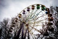 Alter Ferris Wheel in dendro Park, Kropyvnytskyi, Ukraine Lizenzfreies Stockfoto