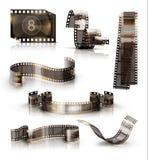 Alter Film-Streifen Ikonensatz des Vektors 3d Lizenzfreie Stockbilder