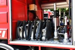 Alter Firetruck am Erscheinen Lizenzfreie Stockfotos