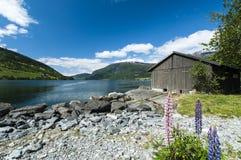 Alter Fjord mit boatshed Lizenzfreie Stockfotos