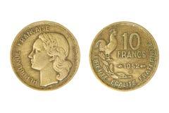 Alter französischer Währungseinheitfranc. lizenzfreies stockfoto