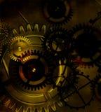 Alter Gangmechanismus Steampunk auf dem Hintergrund alten Weinlese-PAs Stockfotos