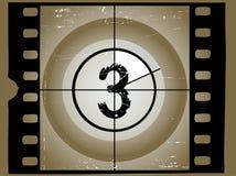 Alter gelöschter Film-Count-down 3 stock abbildung