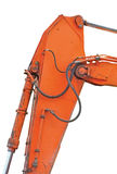 Alter generischer Bagger Dipper And Boom plus Eimer Ram Vertical Closeup, lokalisierte orange Gelb-Details, Löffelbagger-Bulldoze Stockfoto