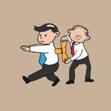 Alter Geschäftsmann wickelt oben Junge Stockbild
