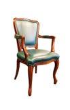 alter grüner Lederstuhl lokalisiert auf Weiß Stockfoto