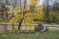 Alter Grabstein im Gebiet der Kirche des des 12. Jahrhundertsgebäudes Lizenzfreie Stockbilder
