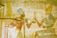 Alter ägyptischer Gott Horus mit Seti und Isis Stockbild