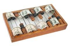 Alter hölzerner Abakus mit Dollar Lizenzfreie Stockbilder