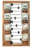 Alter hölzerner Abakus mit Dollar Lizenzfreie Stockfotografie