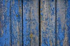 Alter hölzerner blauer Zaun Stockbild