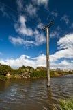 Alter hölzerner Elektrizitätsgondelstiel Stockbild