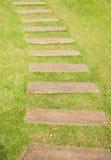 Alter hölzerner Gehweg auf dem grünen Gras Lizenzfreie Stockbilder