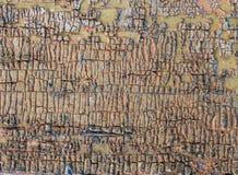 Alter hölzerner Hintergrund mit Überresten von Stücken Schrotten der alten Farbe auf Holz Beschaffenheit eines alten Baums, Brett Lizenzfreies Stockfoto