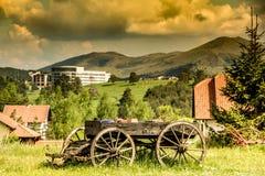 Alter hölzerner Pferdewarenkorb in Zlatibor Lizenzfreies Stockfoto