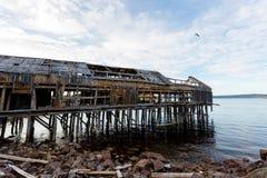 Alter hölzerner Pier im Dorf Teriberka, Kola Peninsula, Russland stockfotografie