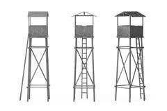 Alter hölzerner Uhr-Schutz Towers Lizenzfreie Stockfotografie