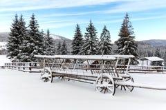 Alter hölzerner Wagen im Schnee Stockbild